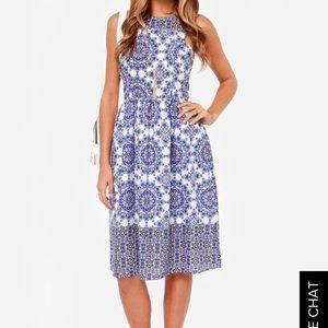 EVERLY tide blue print midi dress